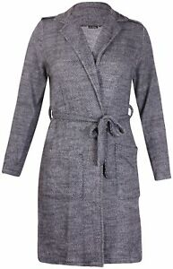 4b1cdddcdd3 Womens Plus Size Long Sleeve Ladies Belted Knitted Wrap Jacket Coat ...