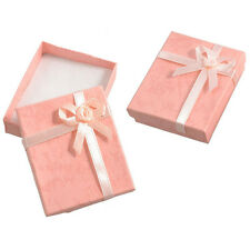 2 x Bowtie Accent Cardboard Gift Cases Present Boxes Bracelet Holder Peach T0O6