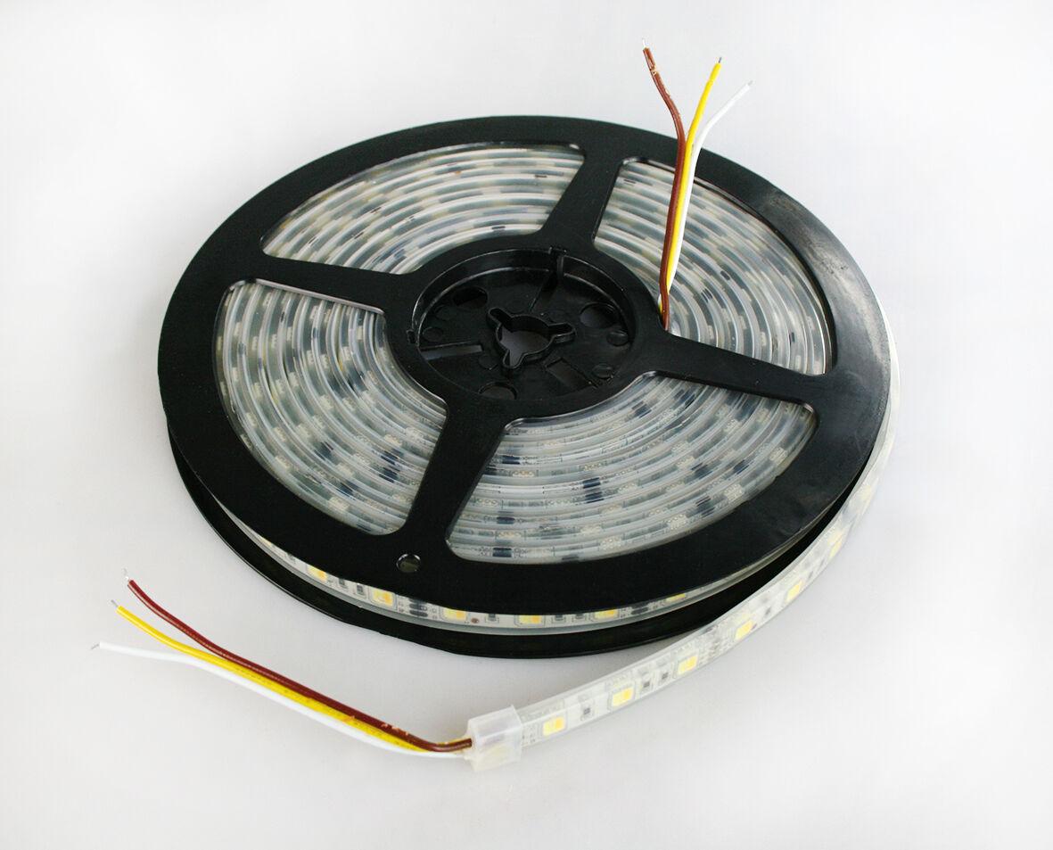 5m LED Stripe dual wieß 60 LEDs m IP68 Wasserdicht Silikon-Schlauch 3000-6500