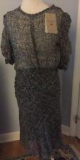 Isabel Marant x H&M Peacock Silk Metallic Long Dress Womens EU42 UK16 US 12 NWT