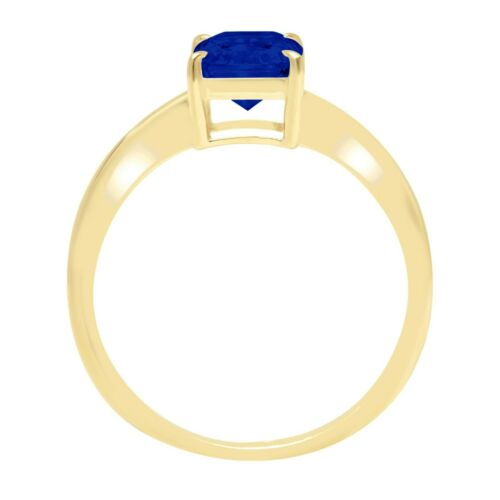 Details about  /1.0ct Radiant Cut Blue Sapphire CZ Wedding Bridal Statement Ring 14k Yellow Gold