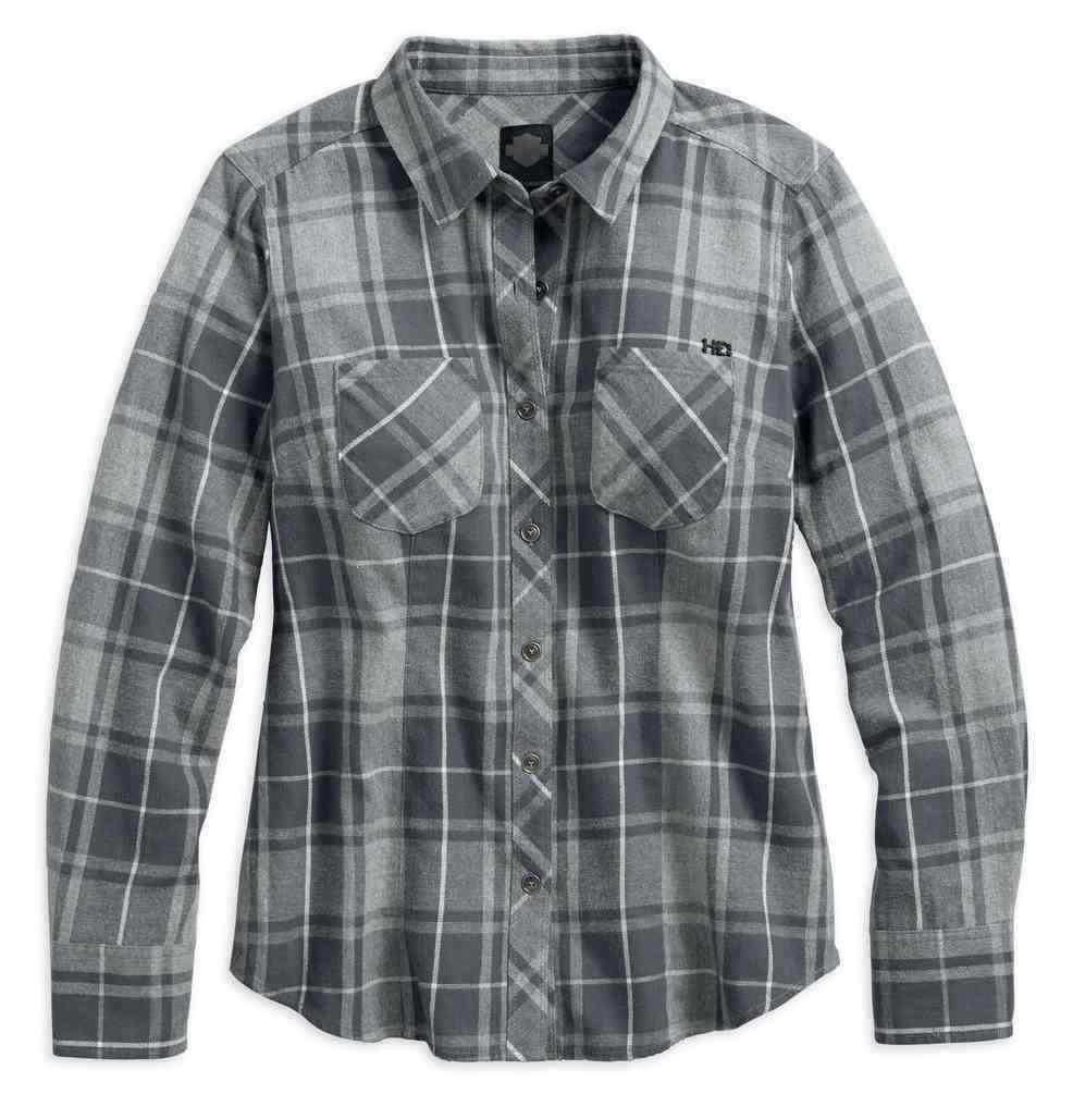 Genuine Harley-Davidson Ladies Heavy Wash Grey Plaid Shirt, 96064-18VW, S