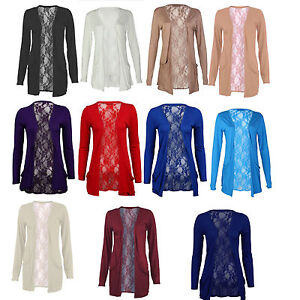 Womens Lace Back Open Pocket New Long Sleeve Top Boyfriend ...