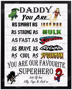 Christmas Gift For Dad.Details About Personalised Superhero Christmas Gift Dad Daddy Grandad Xmas Present For Him A4
