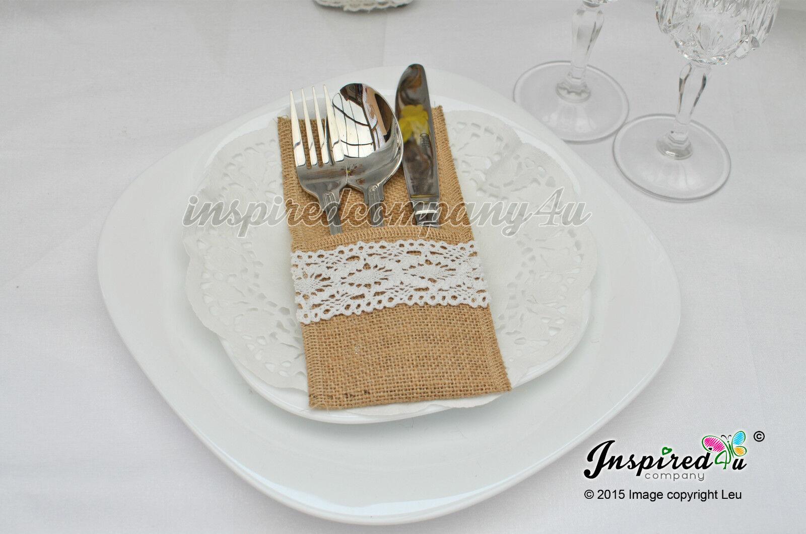 25 x Wedding Cutlery Holders Burlap Hessian Table Decor Crochet Ribbon Lace   10