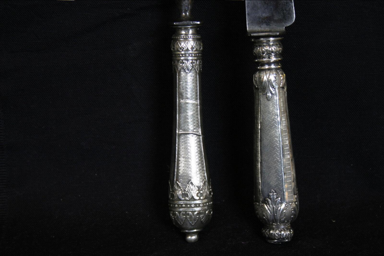 Fourchette et couteau à gigot, de service, Silber fourré