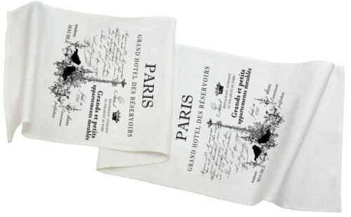 """Landhaus,Baumwolle,145x43cm,Aufschrift """"Paris"""" Tischläufer,Weiß"""