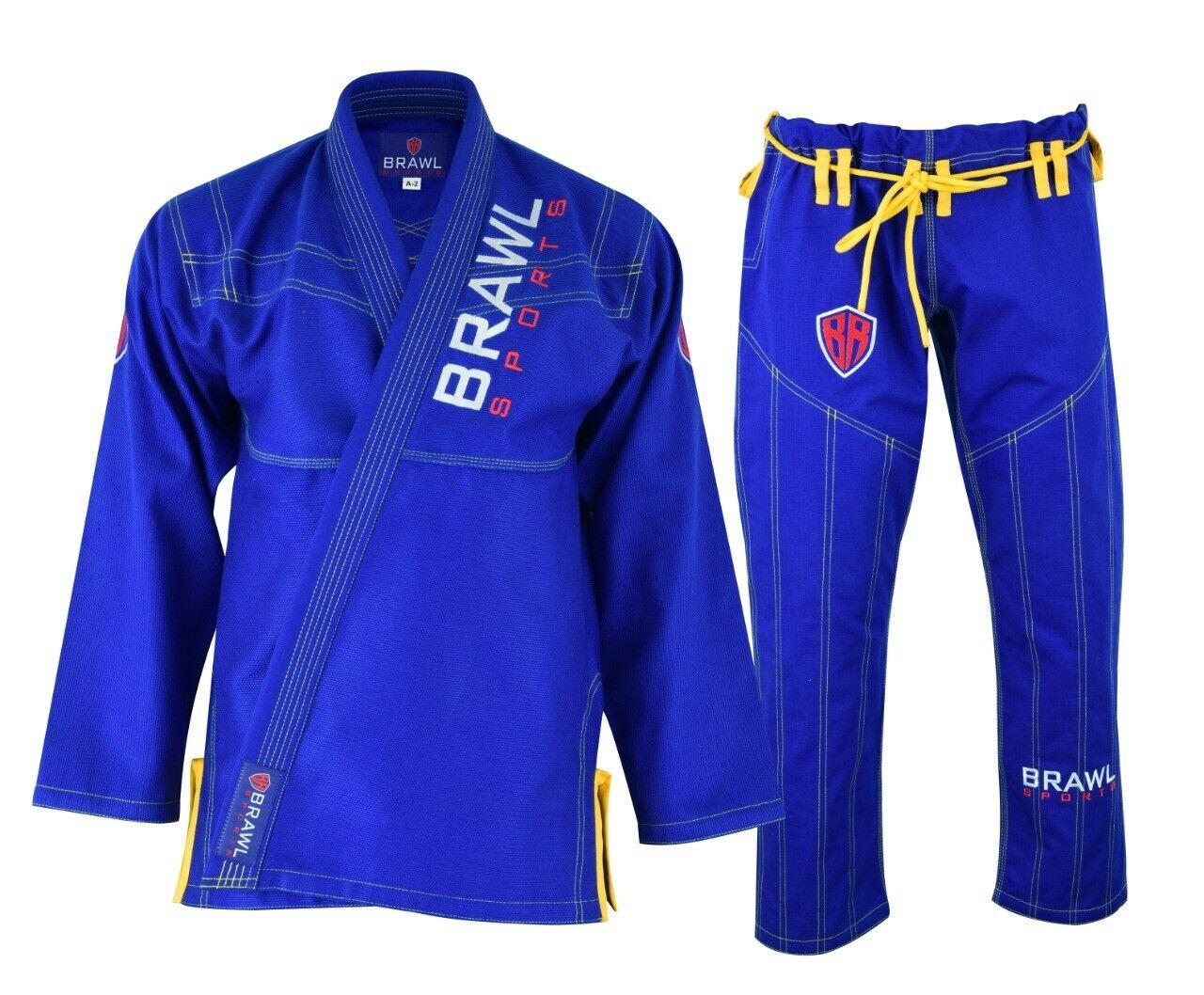 BRAWL BJJ Gi Men Uniform Brazilian Jiu Jitsu Kimono  Suit bluee A0 A1 A2 A3 A4 A5  great offers