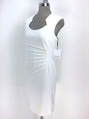 Calvin Klein NEW Modern Cream Dress Side Front Sun Ray Stitches Fancy Neck 10 16