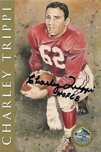 Charley-Trippi-Signed-Auto-Gold-Hall-of-Fame-4x6-Post-Card-100-Guaranteed