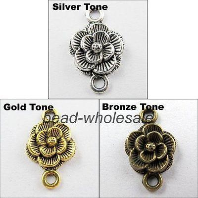 30pcs Antique Silver/Golen/Bronze Flower Shaped Connectors Charms Pendants