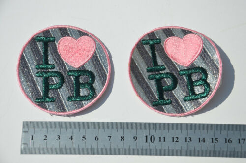 Embroidery Sew ON Patch Badge APPLIQUE Fault 2x I LOVE HEART PEANUT BUTTER PB