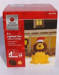 Home-Accents-inflatable-lighted-fuzzy-Christmas-lion-with-santa-hat-NIB