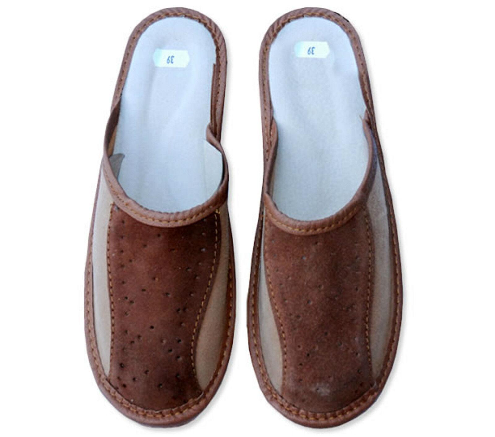 New Men's  boy men Brown Leather Slippers mule H Q     OFERR    2