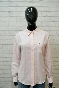 Camicia-Donna-TOMMY-HILFIGER-Taglia-L-Camicetta-Maglia-Manica-Lunga-Rosa-Cotone
