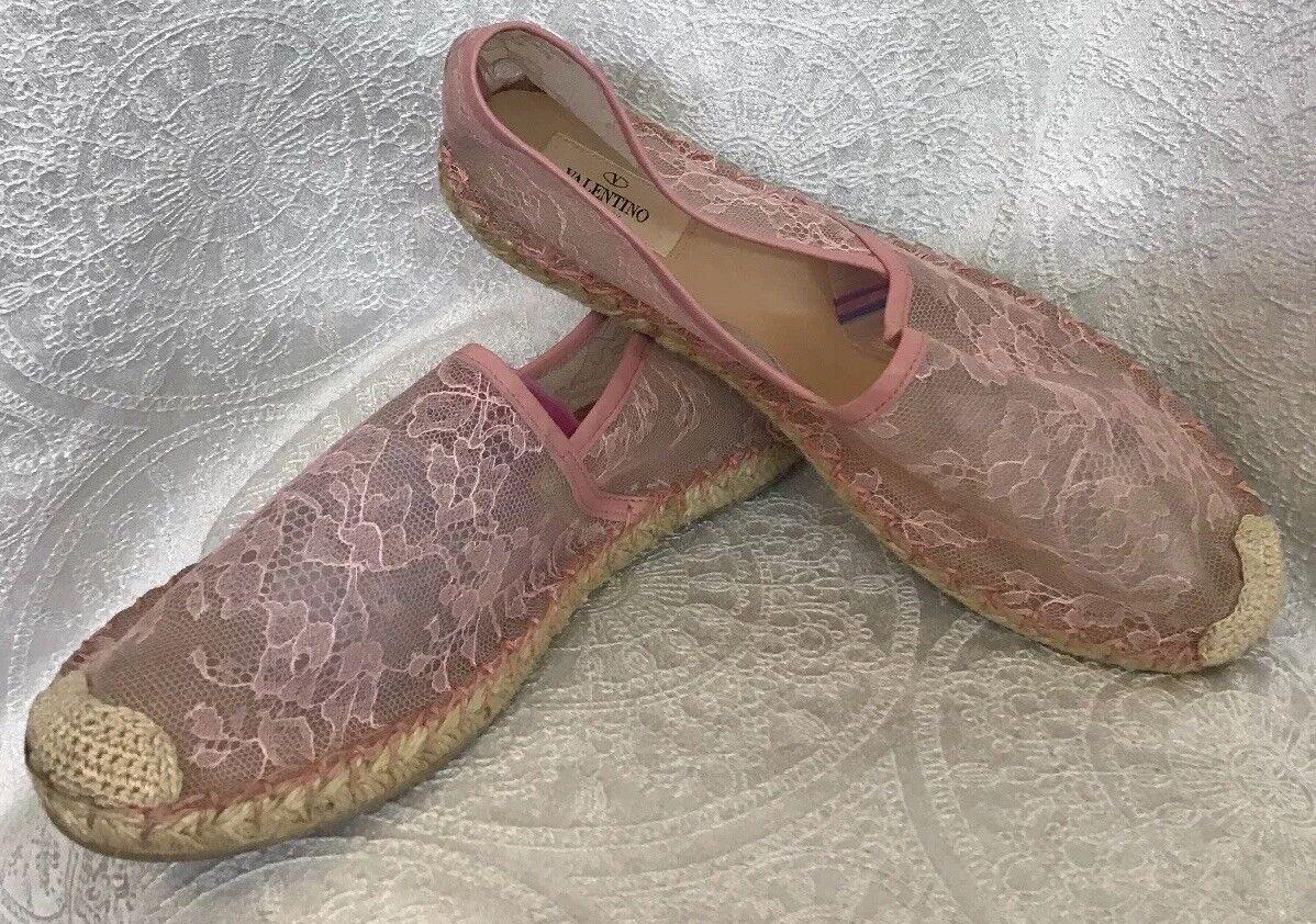 Valentino Corded Lace Espadrilles Rosa Lace Leather Trim 40 Größe 40 Trim 892109