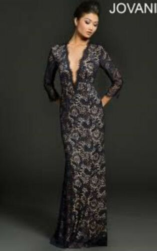 JOVANI midnight blue lace gown dress long sleeve d