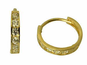 14K Yellow Gold 4mm Thick 5 Stone Set Large Polished Hoop Huggies Earrings