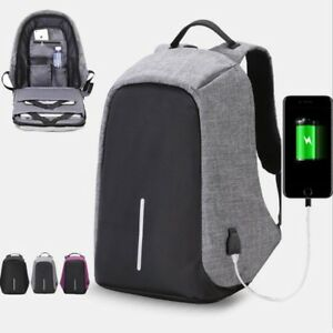 Anti-theft Mens Womens Laptop Notebook Backpack   USB Charging ...