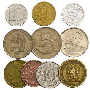 MIXED-LOT-OF-10-CZECHOSLOVAKIA-COINS-CZECH-AND-SLOVAK-1946-1993-HELLER-KORUNA