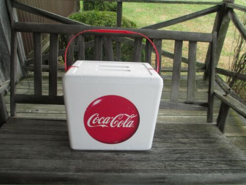 Coca-Cola Styrofoam Cooler with Handle and Disc Logo and  an included Ice pack