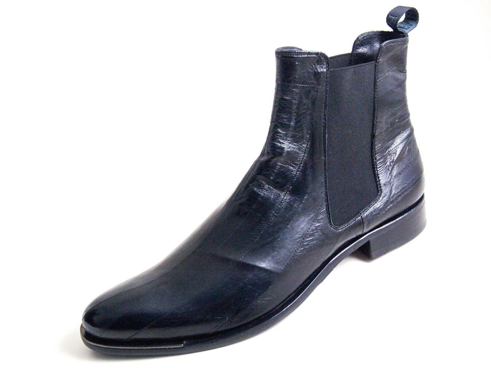 Fabi Chelsea Ankle Boots Black Eel Skin Leather Men Size UK 9 EU 43