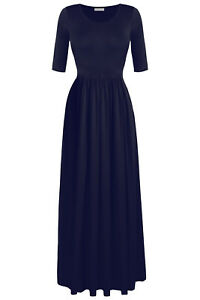 Women-039-s-3-4-Sleeve-Empire-Elastic-Waist-Plus-Size-Maxi-Long-Evening-Party-Dress