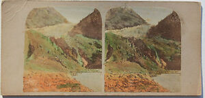 Suisse Swiss Ghiacciaio Da Grindewald Foto Stereo di Carta Vintage Verso 1870