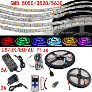 5M-300-LED-Strip-Light-SMD-3528-5050-5630-RGB-White-Flexible-Remote-Power-Supply