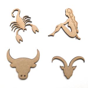 Madera Mdf Signo Zodiaco Astrología símbolos formas Artesanía Adorno signos