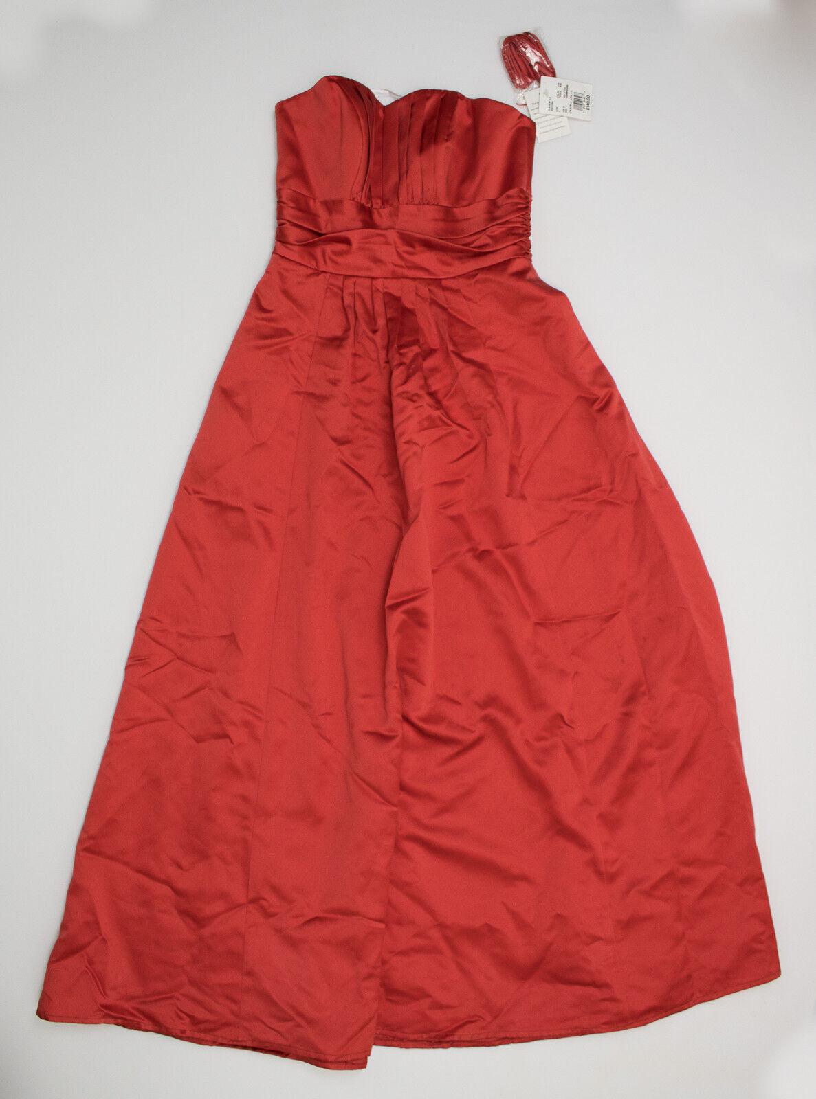 David's Bridal Womens Empire Waist Prom Dress Red Sleeveless Size 2