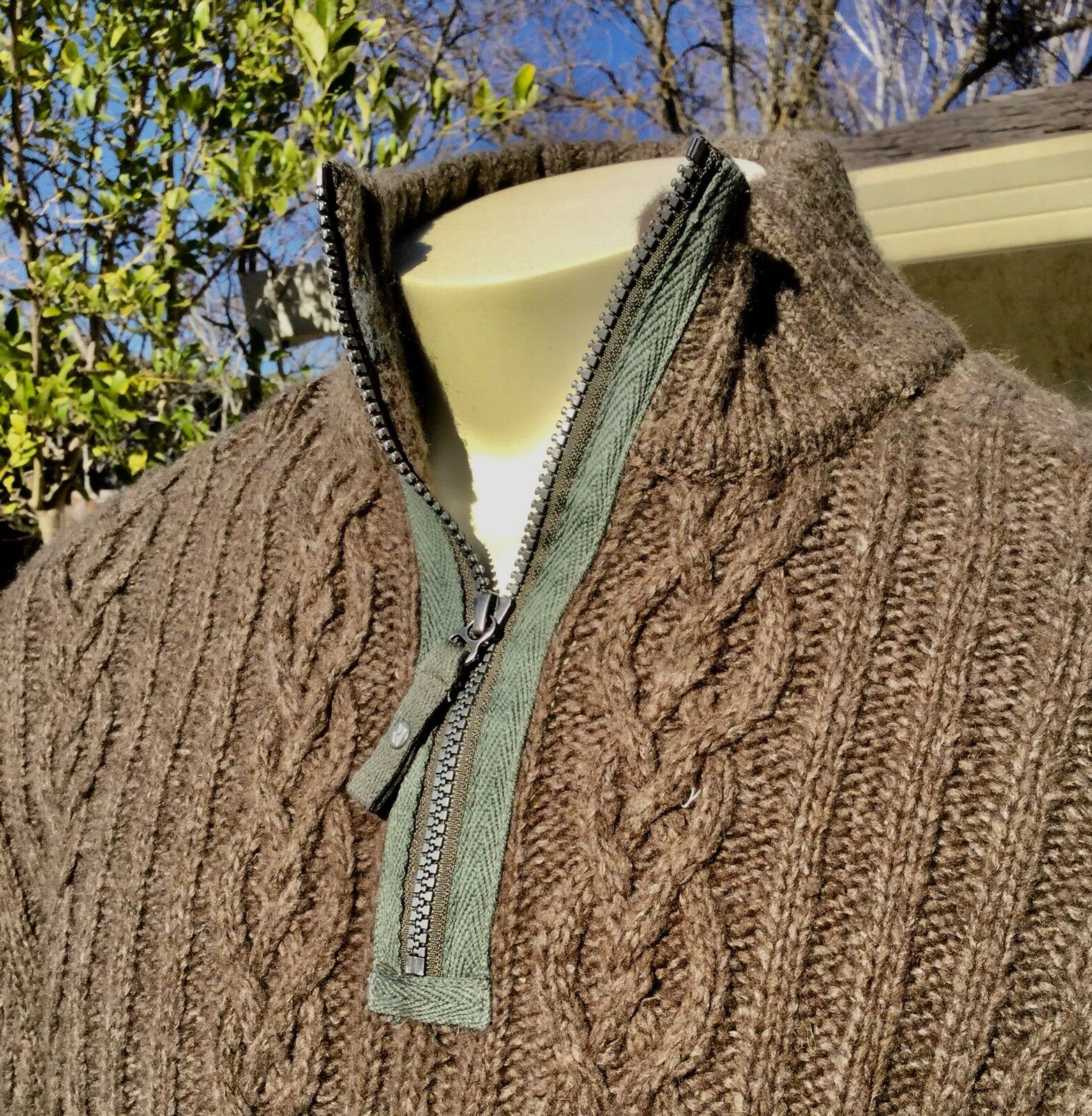 Men's Royal Robbins Scotia 1/2 Zip Braun Sweater 2XL XXL Cable Knit NWT