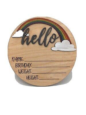 Round Wood Birth Stat Sign Rainbow Baby Birth Stat Sign Pink Rainbow Birth Stat Sign Birth Stat Sign Personalized Birth Stat Sign