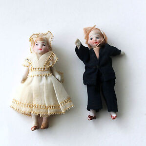 Able Antique All Bisque Baby Doll Japan Boy And Girl Wire Jointed Incredible With The Best Service Bisque