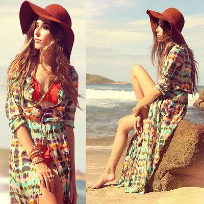 Boho Chiffon Kimono Hippie Long Sleeve Cardigan Women's  Summer Beach Maxi Dress