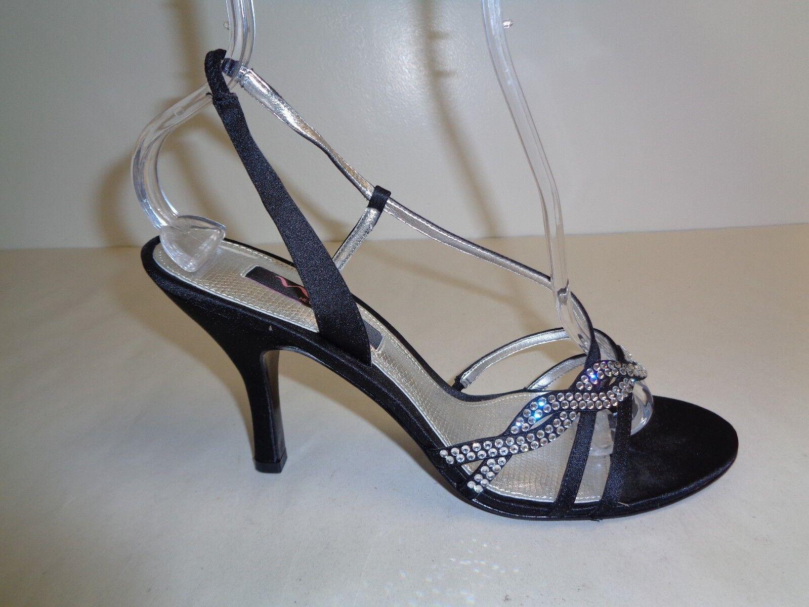 Nina Talla 9 M Negro Satinado Cristales Cristales Cristales Con Tiras Tacones Sandalias nuevo Zapatos para mujer  Seleccione de las marcas más nuevas como