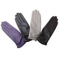 WARMEN Luxury Women Genuine Nappa Leather Winter Warm Ruched Lined Gloves