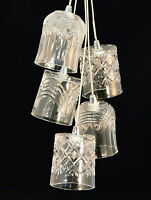 Crystal Whisky Glass 5 Light Cluster Chrome Ceiling Fitting Will Take Led Bulbs