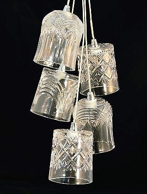 Crystal Whisky Glass 5 Light Chrome Ceiling Fitting Halogen or Use leds