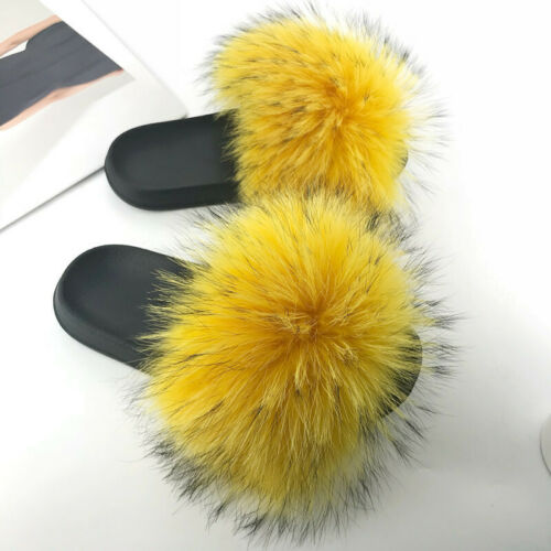 Beach Vacation Women/'s Fluffy Real Raccoon Fur Slides Slippers Flat Soft Shoes