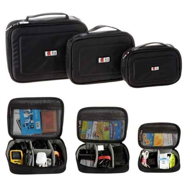 BUBM Portable Travel Digital Storage Data Cable Charger USB Organizer Black Bag