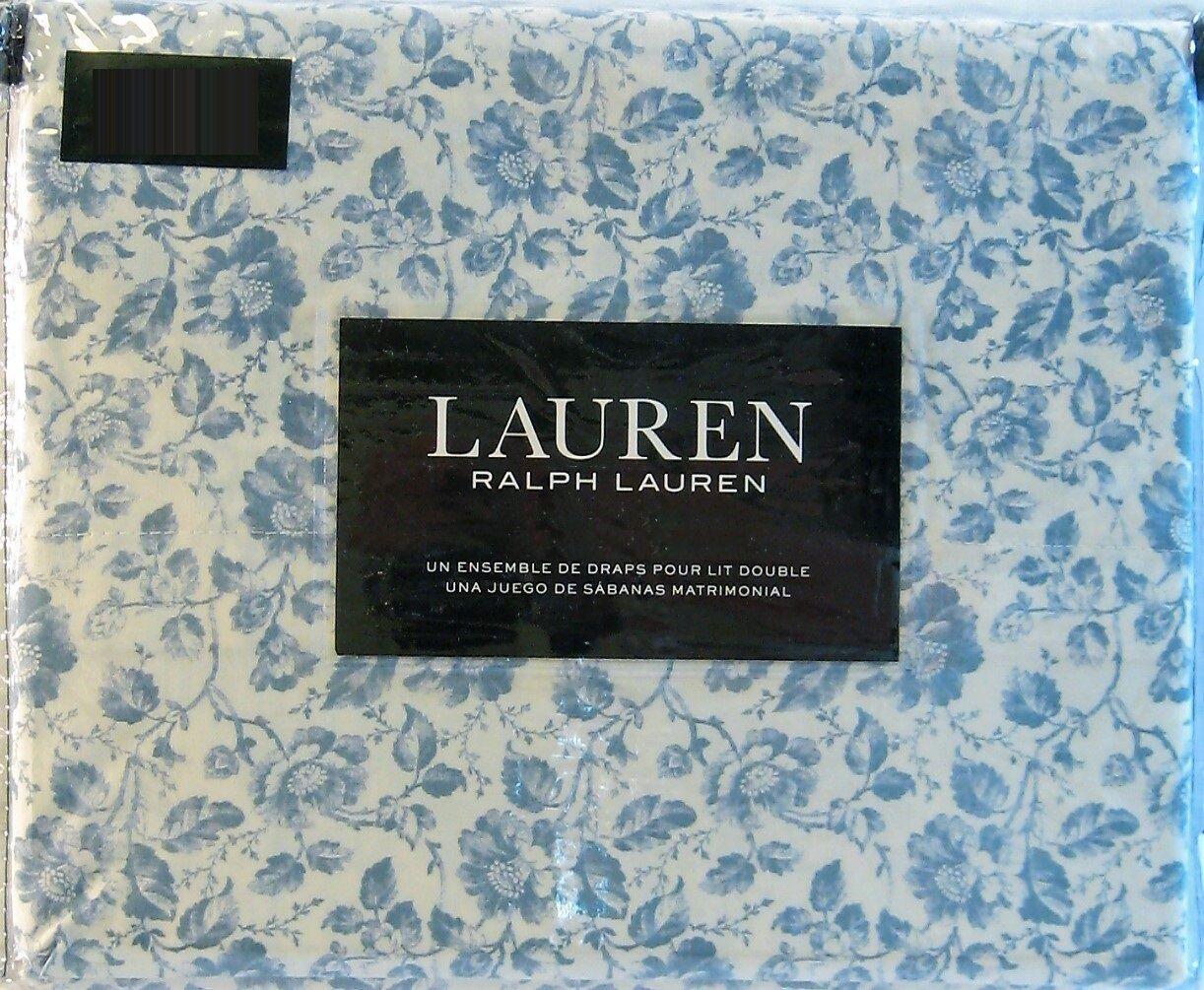Ralph Lauren 4 PC Cotton Sheet Set Floral Shabby Dusty bluee Full - NEW
