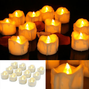 6 12 24 X Led Tea Lights With Flash And Timer Flameless