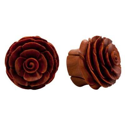 PAIR Rose in Bloom Sawo or Areng Wood Ear Plugs Flower Organic Gauges Earlets