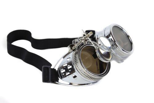Steampunk Victorian Welding Silver Goggles 2X Lens Scissors Punk Goth Cosplay