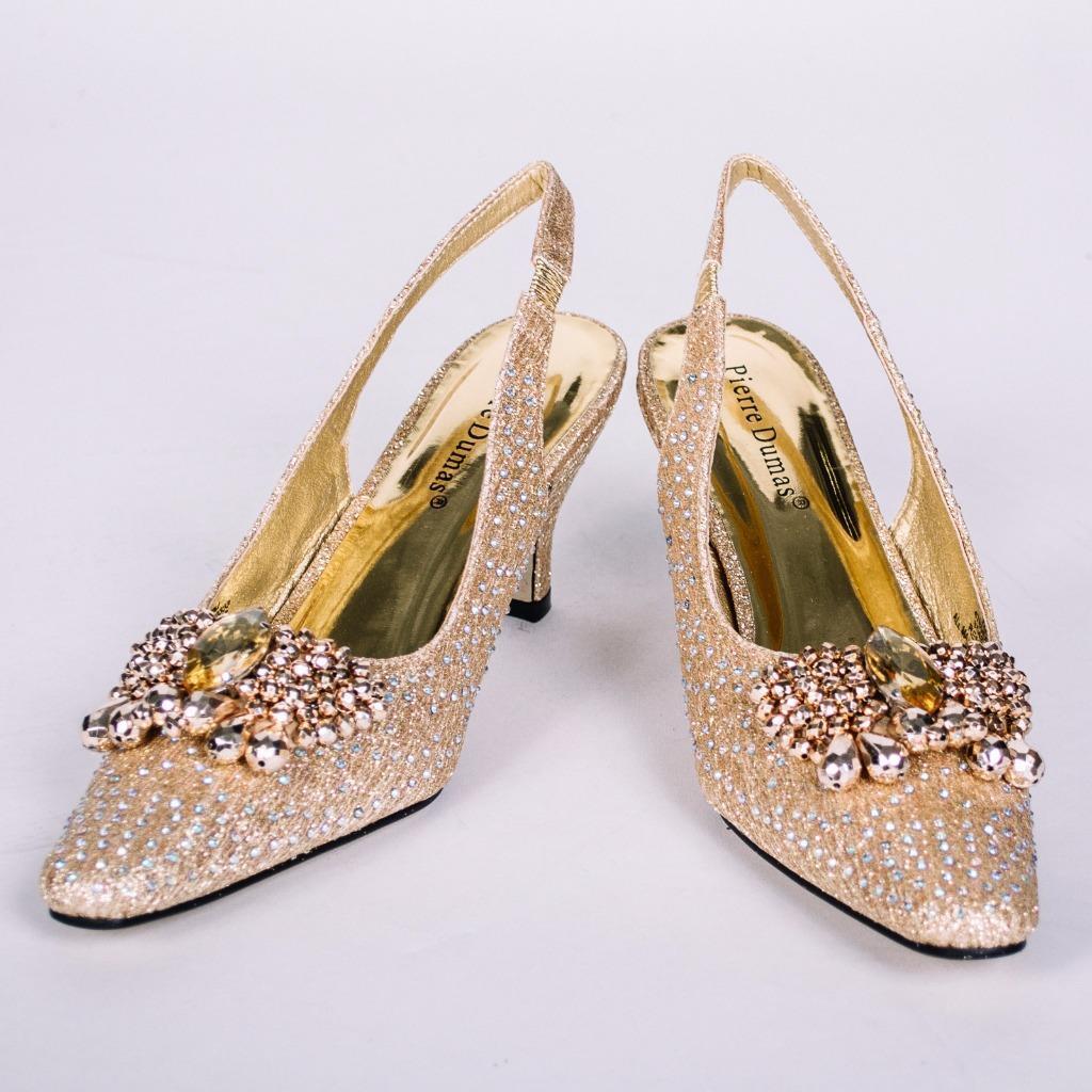 Women's Pierre Dumas Low Heel Church Formal Dress Closed gold shoes Renetti 37