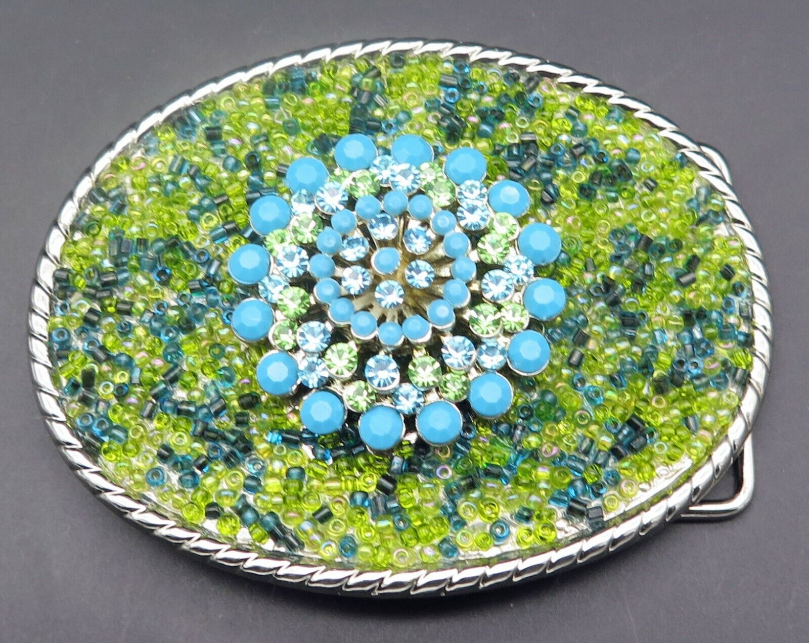 Flower Floral Stones & Beads Handcrafted Green & Turquoise Colors Belt Buckle