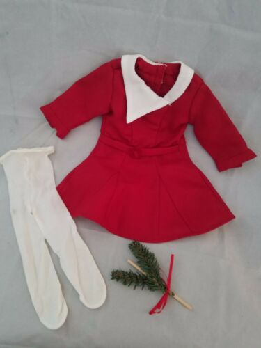 American Girl Kit's Christmas Holiday Red Dress Tights & Evergreen Sprig Stick