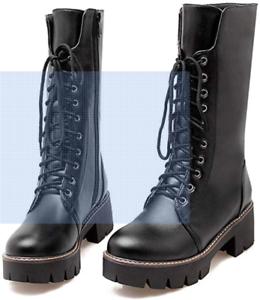 Dettagli su Stivali anfibi alti polpaccio con zip e lacci tacco basso numero 34
