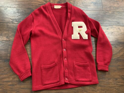 Vtg Red R College Cardigan Button Down Letterman R